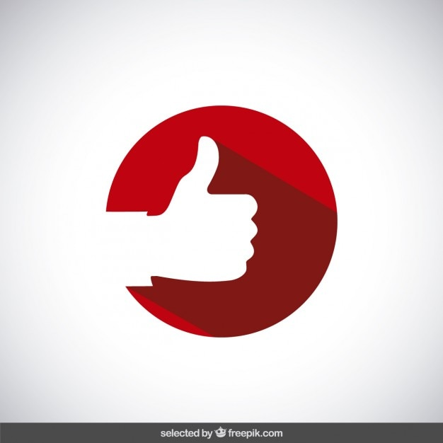 Thumb up on red circle Free Vector