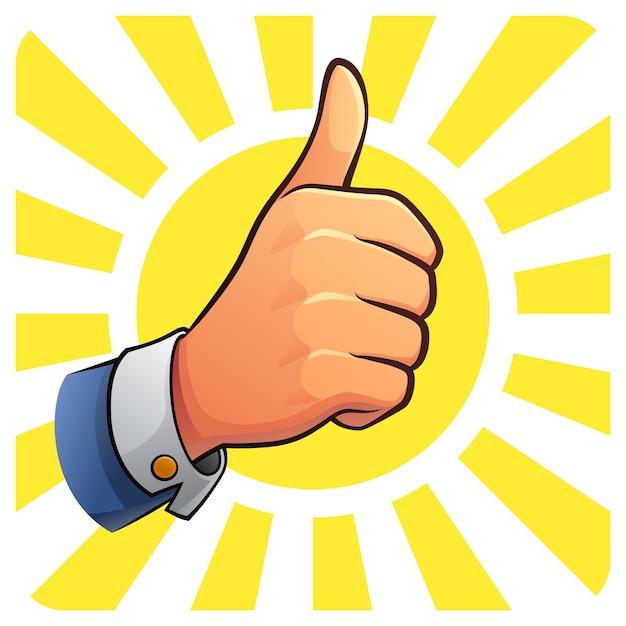 Thumb up of success Premium Vector