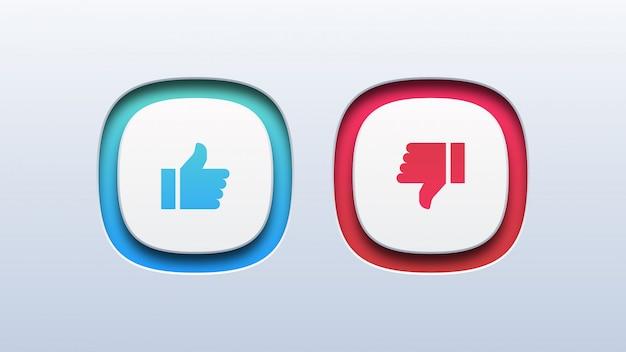 Thumb up and thumb down icon Premium Vector