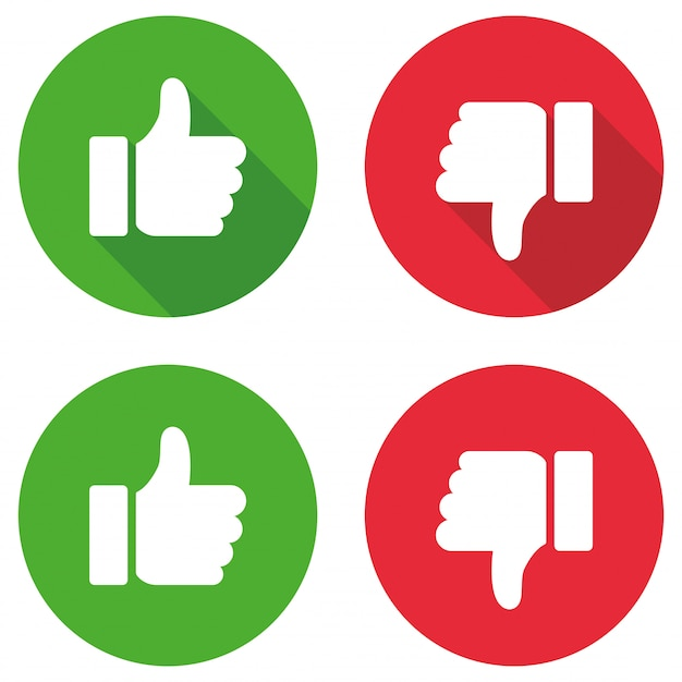 Thumb up and thumb down sign set. vector illustration Premium Vector