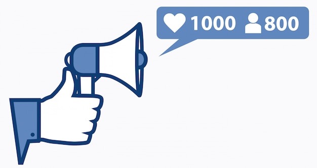 Thumb up with microphone and new rating symbols. Premium Vector