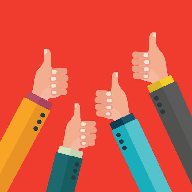 Большие пальцы руки вверх дизайн фона Бесплатные векторы