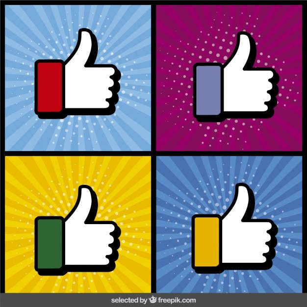 Thumbs up collection in pop art style Free Vector