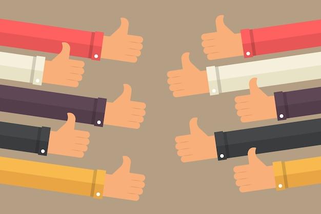 Большие пальцы руки вверх. бизнес-концепция комплимента Premium векторы