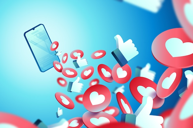 Thumbs up and hearts background Free Vector