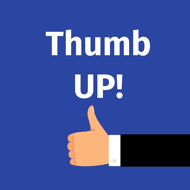 Thumbs up text with hand Premium Vector