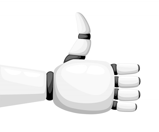 Thumbs up white robot hand or robotic arm for prosthetics  illustration  on white background website page and mobile app Premium Vector