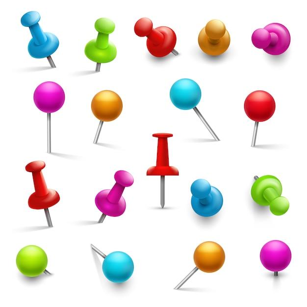 Thumbtack. 3d разноцветные кнопки для извещения о бумаге. набор кнопок вешки Premium векторы