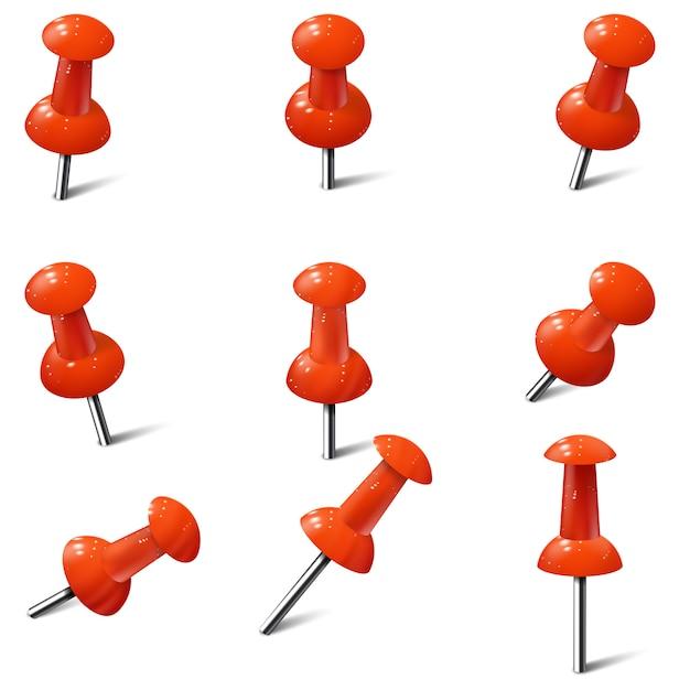 Набор реалистичные кнопки в красном цвете. thumbtacks Premium векторы