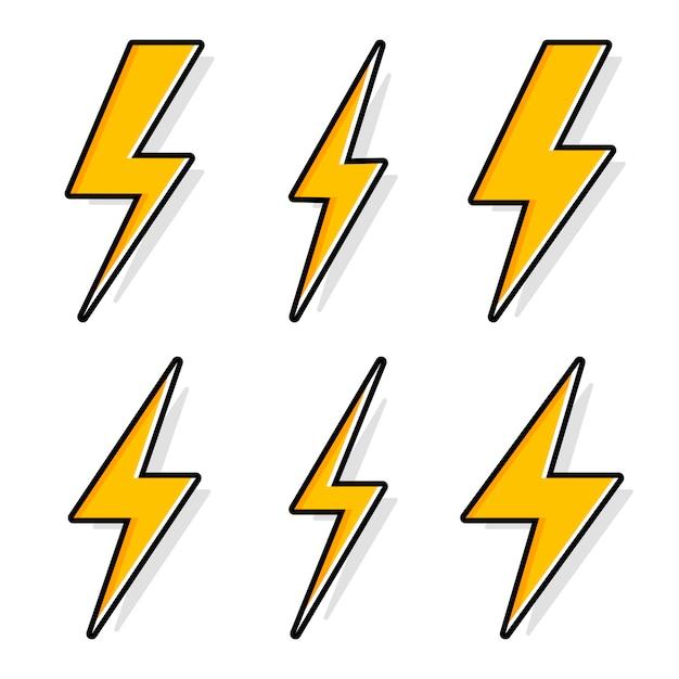 雷とボルト照明のフラッシュのアイコンを設定します。 Premiumベクター