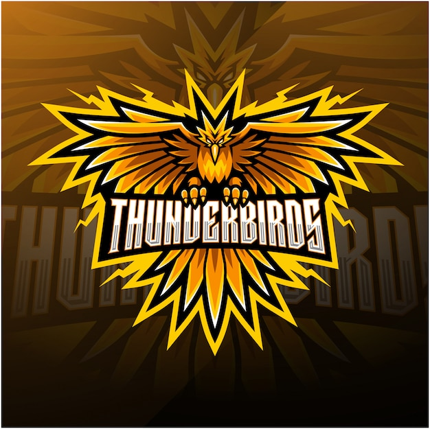 Thunder birds esport mascot logo design Premium Vector