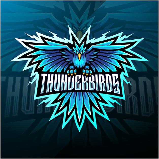 Талисман логотипа thunder birds Premium векторы
