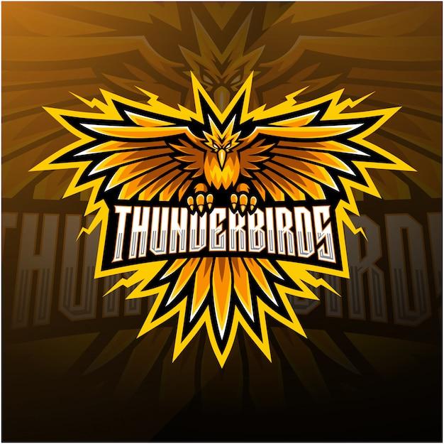 Thunder birds esport талисман дизайн логотипа Premium векторы