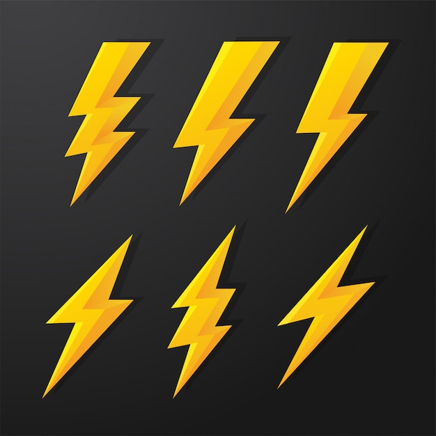 Thunder and bolt lighting flash correction set. Premium Vector