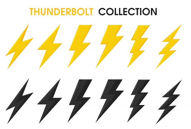 Thunder and bolt lighting flash vector collection set. Premium Vector