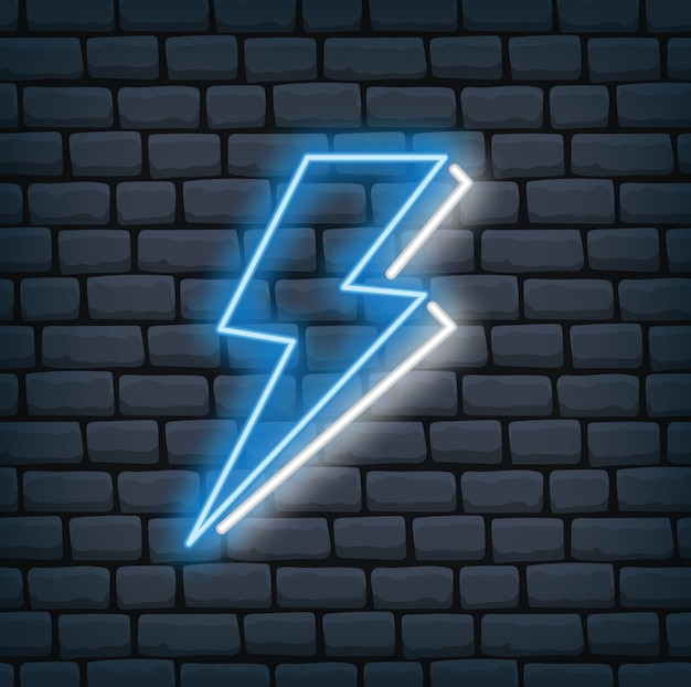 Thunder bolt in neon effect vector illustration Premium Vector