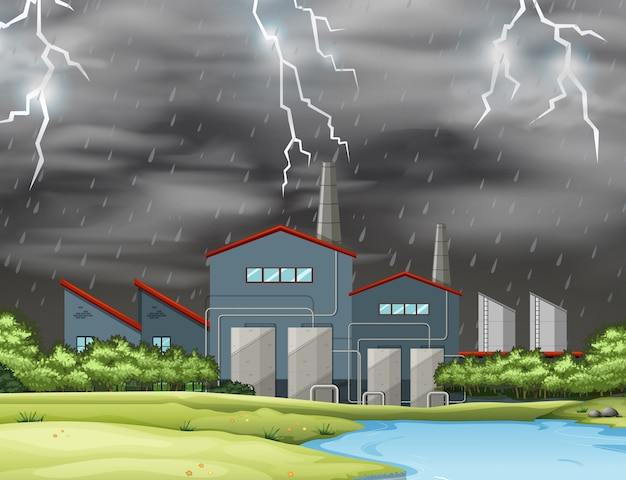 Thunder in factory scene Free Vector
