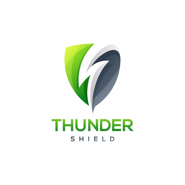 Thunder shield logo Premium Vector
