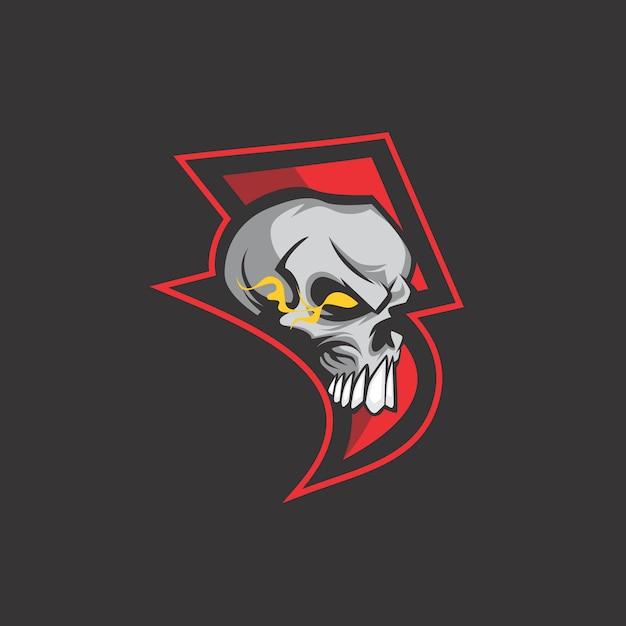 Thunder skull logo Premium Vector