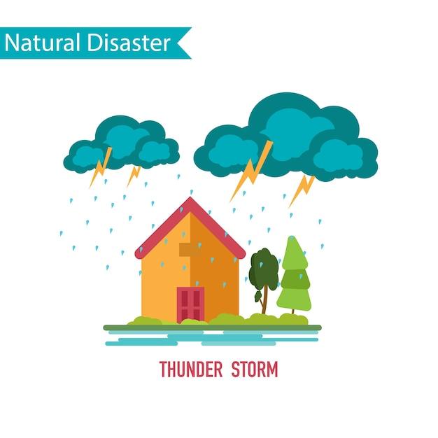 Thunder storm disaster in flat design concept Premium Vector