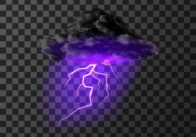 Temporale nuvola di fulmini su trasparente Vettore gratuito