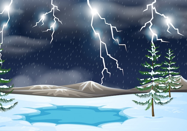 A thunderstorm nature background Free Vector