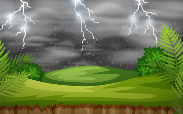 A thunderstorm nature scene Free Vector