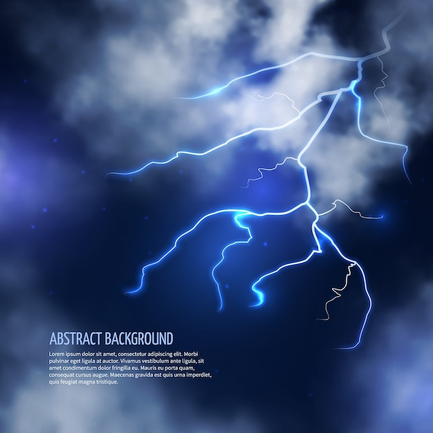 Temporale con nuvole e fulmini. lampo di fulmine, energia elettrica. fondo astratto dell'illustrazione di vettore Vettore gratuito