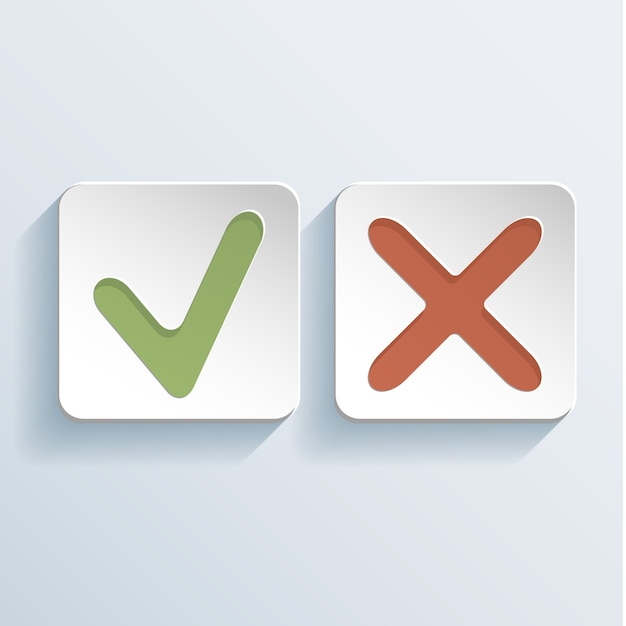 Tick and cross signs icons  illustration Free Vector