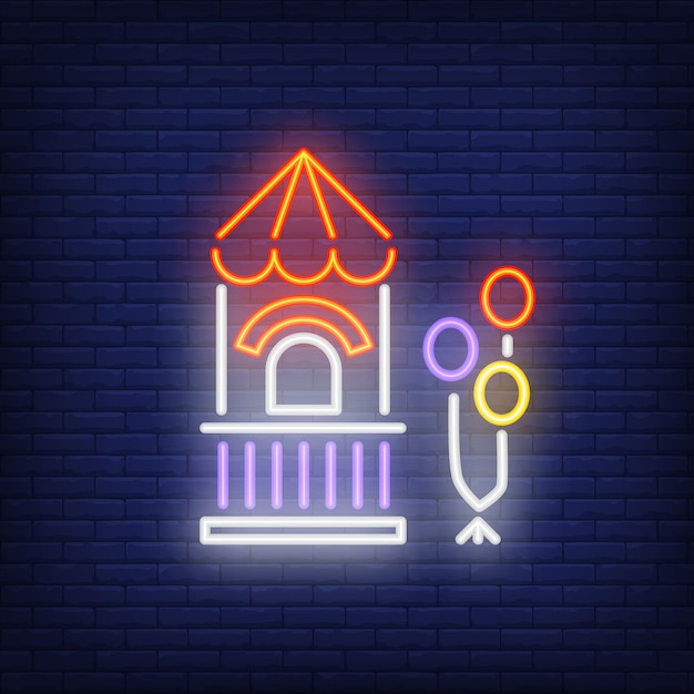 Ticket box in amusement park neon sign Free Vector