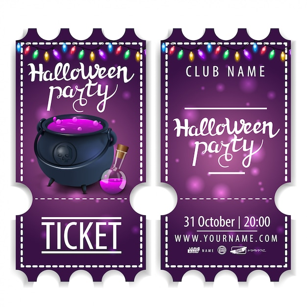 Ticket for halloween party, beautiful design with witch's pot with potion Premium Vector