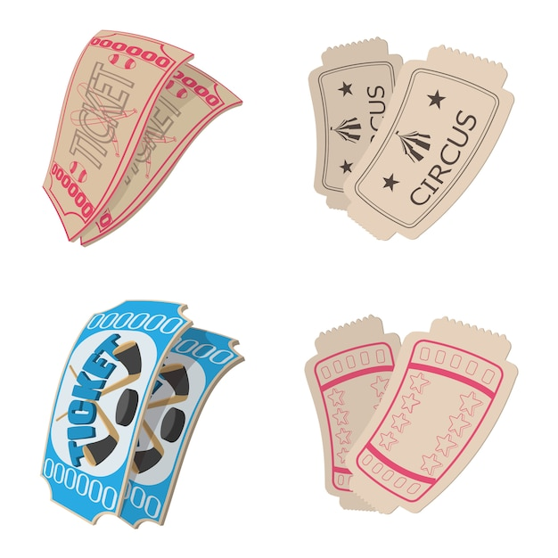 Ticket icons set in cartoon style isolated Premium Vector