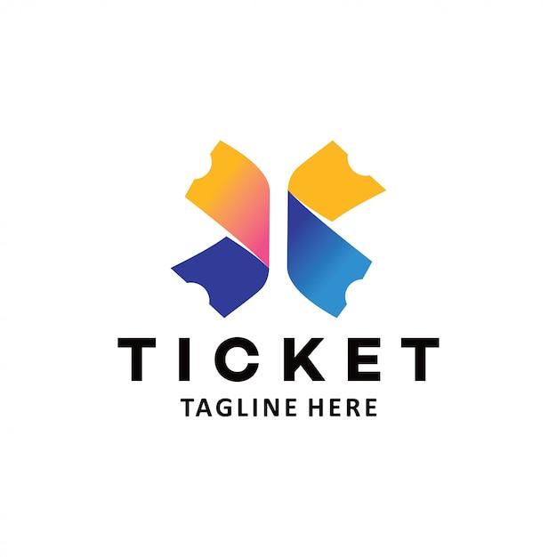 Ticket logo icon Premium Vector