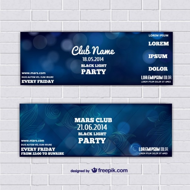 Ticket template banners with blue abstract background Free Vector