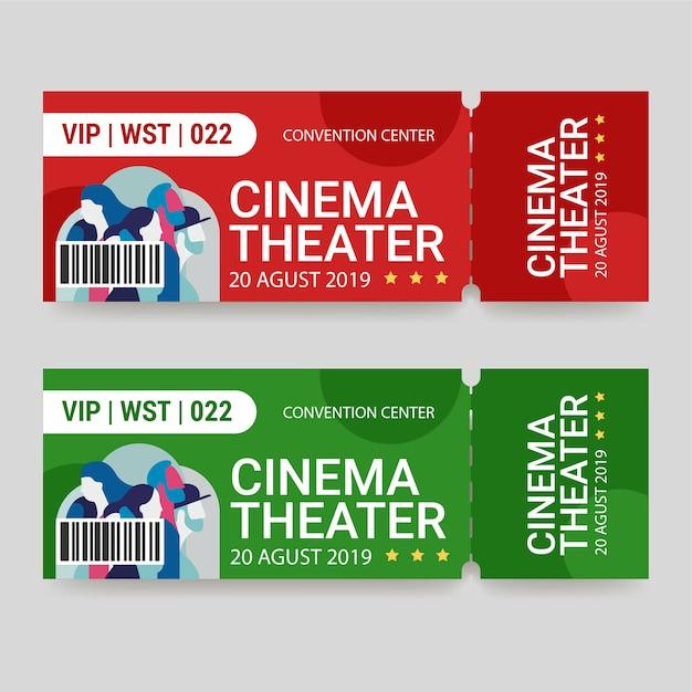 ticket template cinema theater vector