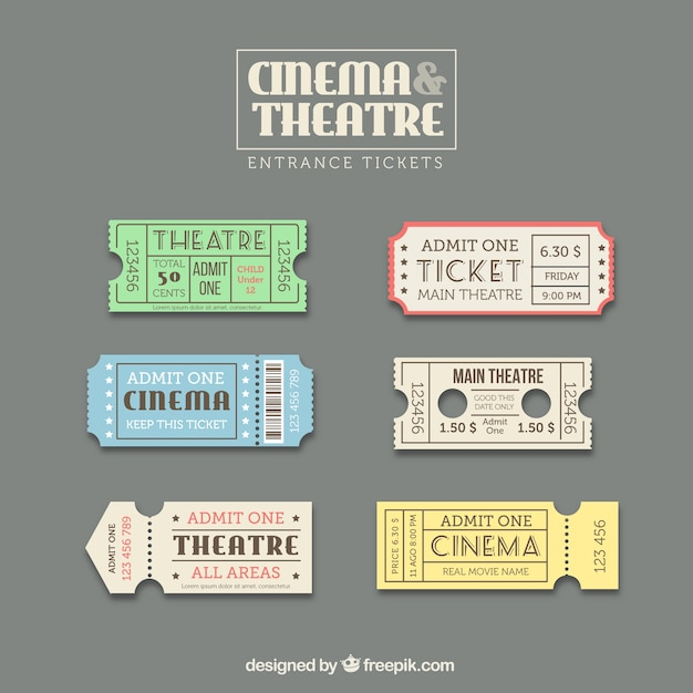 Ticket template set Free Vector
