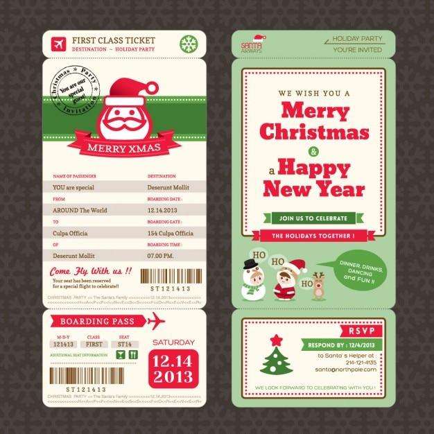 Рождественская открытка в посадочном талоне ticket шаблон стиля Бесплатные векторы