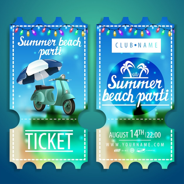 Tickets to a beach party with a beautiful summer landscape Premium Vector