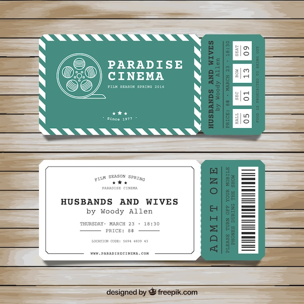 Tickets for cinema Free Vector