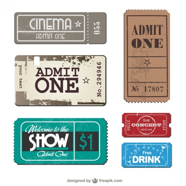 Tickets collection Free Vector