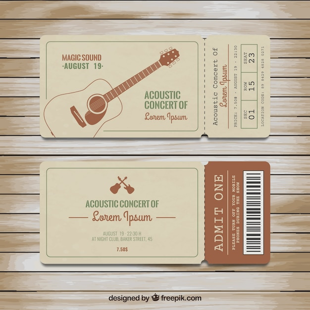 Tickets For Acoustic Concert Premium Vector  Concert Ticket Design