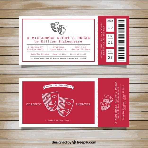 Ticket Vectors Photos and PSD files – Theater Ticket Template