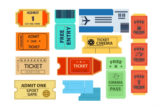 Tickets illustration set Free Vector