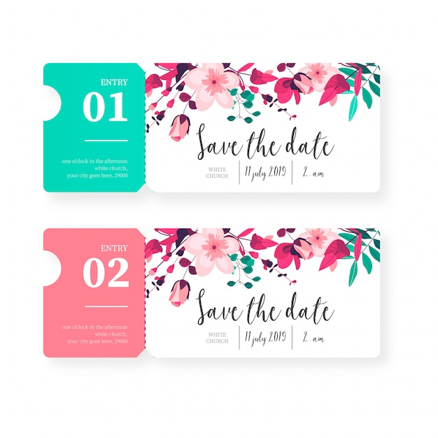 Tickets for save the date invitation Free Vector