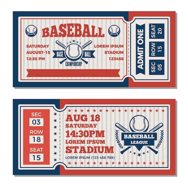 Tickets template at baseball tournament Premium Vector