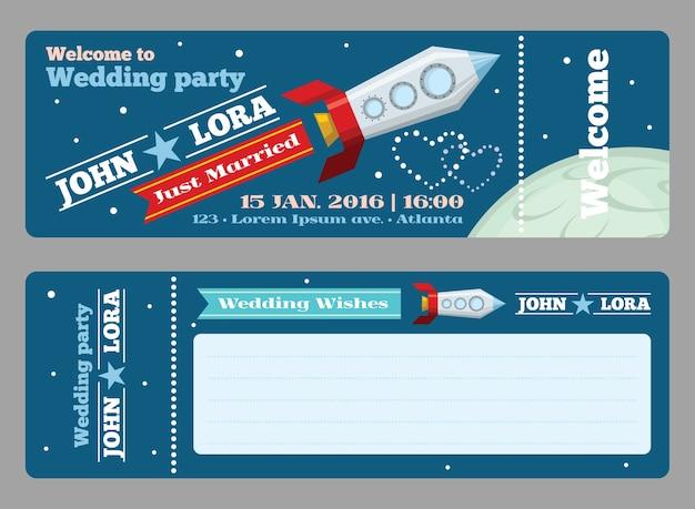 Modello di biglietti per inviti di nozze. saluto vuoto, lancio di un razzo, data di celebrazione, illustrazione vettoriale Vettore gratuito