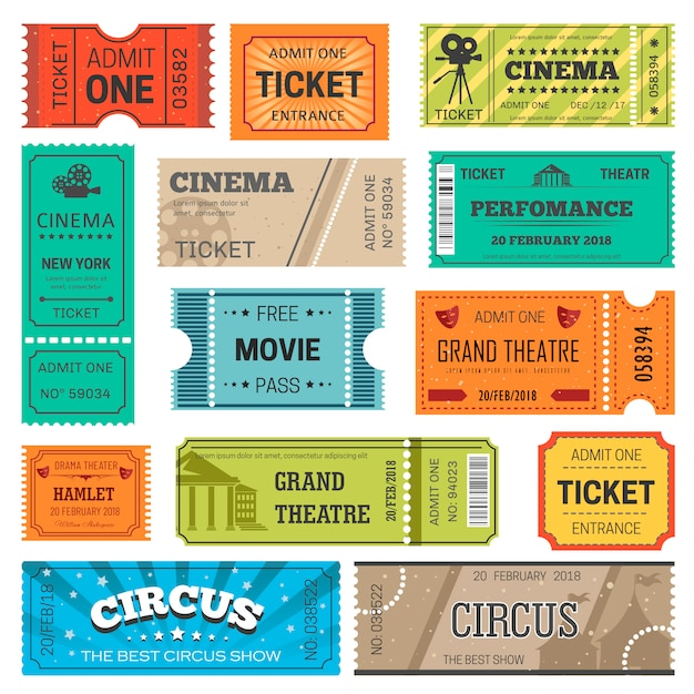 Tickets vector design templates for movie, theater or cinema and circus or concert show Premium Vector