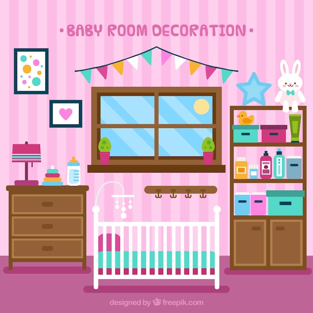 Tidy baby room with crib in flat design Free Vector