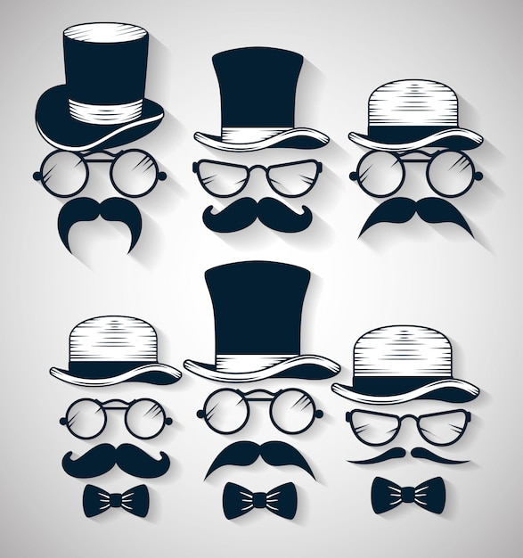 Tie bow with hat and glasses with mustache illustration set Free Vector
