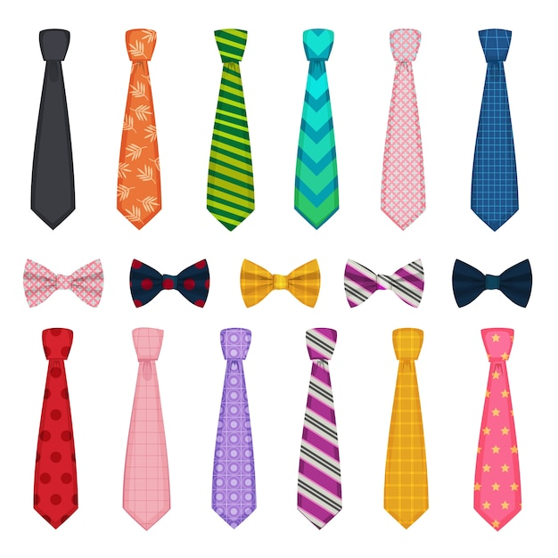 Tie and bows. colored fashion clothes accessories for men shirts suits vector collections of ties. tie bow and necktie, man accessory clothes illustration Premium Vector